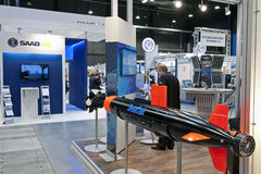 Programmed Underwater Vehicle. Exposition of the programmed underwater vehicle. Balt Military Expo/Rescue 2012 in Gdansk, Poland royalty free stock photo