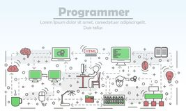 Programmer advertising vector flat line art illustration 库存例证