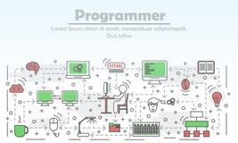 Programmer advertising vector flat line art illustration. Programmer advertising vector illustration. Modern thin line art flat style design element with program Stock Images