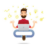 Programmer cartoon character. Vector illustration of a super professional programmer or project manager. Funny cartoon character of a person in a yoga pose Royalty Free Stock Photography