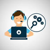 Programmer character development seo gear. Vector illustration eps 10 Royalty Free Stock Image