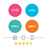 Programmer coder glasses. HTML markup language. Programmer coder glasses icon. HTML5 markup language and CSS3 cascading style sheets sign symbols. Calendar Royalty Free Stock Image