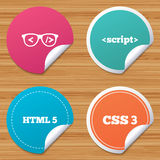 Programmer coder glasses. HTML markup language. Royalty Free Stock Photography