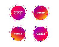 Programmer coder glasses. HTML markup language. Vector