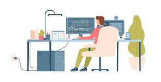 Programmer, coder, web developer or software engineer sitting at desk and working on computer or programming. Workplace. Of IT worker. Back view. Colorful stock illustration