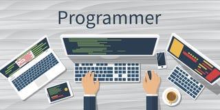 Programmer at computer. Vector. Programmer at computer desk working on program. Software concept. Vector illustration flat design. Man working at desktop Royalty Free Stock Images