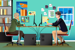 Programmer and Designer Working in an Office. A vector illustration of Programmer and Designer Working in an Office Stock Photo