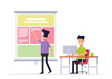 Programmer and designer working in office on the web site or landing page. Workers team Well coordinated work of two Royalty Free Stock Photo
