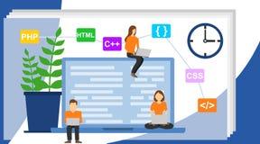Programmer and engineering development illustration. Programmer at work concept. Can use for web banner vector illustration