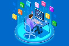 Programmer and engineering development web. Programmer and engineering development illustration. A developer of project team of engineers for website coding Stock Photo