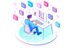 Programmer of engineers developer team. Programmer and engineering development illustration. A developer of project team of engineers for website coding Royalty Free Stock Image