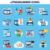 Programmer Flat Color Decorative Icons Set. Of people sitting at desk with laptop and cup of coffee and images of page with algorithm and html code  vector Royalty Free Stock Photos
