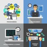 Programmer Flat Set Royalty Free Stock Photography