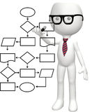 Programmer genius nerd flowchart program plan. A cartoon nerd genius programs a smart flowchart process management system Royalty Free Stock Photos