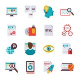 Programmer Icon Flat. Programmer coding algorithm software development icon flat set isolated vector illustration Royalty Free Stock Image