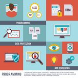 Programmer Icon Flat Set. Programmer flat icon set with programming data protection app developing  vector illustration Royalty Free Stock Photography