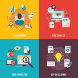 Programmer Icon Flat. Set with web services data protection app development  vector illustration Royalty Free Stock Image