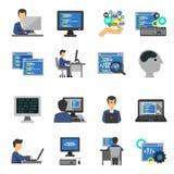 Programmer Icons Flat Set. Programmer and computer programs development icons flat set  vector illustration Royalty Free Stock Photo