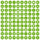 100 programmer icons hexagon green. 100 programmer icons set in green hexagon isolated vector illustration Royalty Free Stock Images