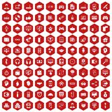 100 programmer icons hexagon red. 100 programmer icons set in red hexagon isolated vector illustration Stock Image