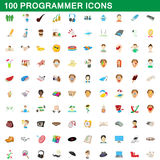 100 programmer icons set, cartoon style. 100 programmer icons set in cartoon style for any design vector illustration Stock Photos