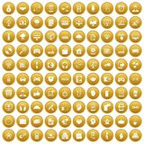 100 programmer icons set gold Stock Images