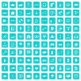 100 programmer icons set grunge blue. 100 programmer icons set in grunge style blue color isolated on white background vector illustration Stock Images