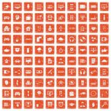 100 programmer icons set grunge orange. 100 programmer icons set in grunge style orange color isolated on white background vector illustration Royalty Free Stock Images