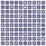 100 programmer icons set grunge sapphire. 100 programmer icons set in grunge style sapphire color isolated on white background vector illustration Stock Photos