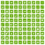 100 programmer icons set grunge green. 100 programmer icons set in grunge style green color isolated on white background vector illustration Stock Photos
