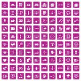 100 programmer icons set grunge pink. 100 programmer icons set in grunge style pink color isolated on white background vector illustration Royalty Free Illustration