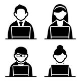 Programmer icons set. Programmer man and woman icons set. Vector illustration Royalty Free Stock Photography