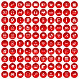 100 programmer icons set red. 100 programmer icons set in red circle isolated on white vector illustration Royalty Free Stock Images