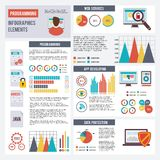 Programmer Infographics Set. With app development and data protection elements and charts vector illustration Royalty Free Stock Images