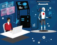 Free Programmer Is Loading Fact And Fake News To Robot,flat Vector Concept Illustration Process Of Loading Data To Robot Prepared For Royalty Free Stock Photo - 159052085