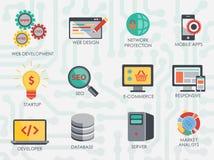 Programmer software developer icons set . Programmer software developer icons set  on the chip looling background Stock Images