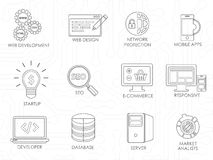 Programmer software developer thin line icons set . Royalty Free Stock Photography