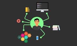 Programmer stuff. Programmer and developer stuff on work stock illustration