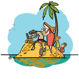 The programmer is on vacation desert island and family. Line art caricature. Husband wife and children. Robinson on the island. New technologies computer Royalty Free Stock Image
