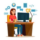 Programmer Woman Vector. Programmer Workspace.  Royalty Free Stock Images