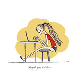 Programmer woman at work, sketch for your design Royalty Free Stock Photos
