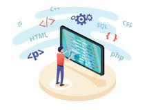 Programmer at work concept banner. Can use for web banner, infographics, hero images. Flat isometric vector royalty free illustration