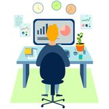 Programmer at work concept. Can use for web banner, infographics, hero images. In minimalist style. Flat isometric. Vector illustration stock illustration