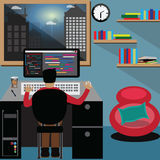 Programmer work hard,man work at the late night - vector. Illustration Royalty Free Stock Photo