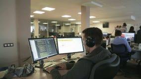 Programmer in work stock video