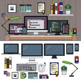 Programmer working cabinet Royalty Free Stock Photos