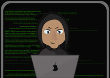 Programmer working on front of his laptop.Abstract Technology Background. Hacker concept. Vector Illustration. Stock Images