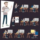 Programmer working in office desk. Many action of the man using computer pc on the cluttered desk royalty free illustration