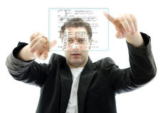 Programmer working with a touch screen Stock Image