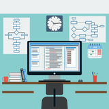 Programmer workplace. The programmer workplace flat vector illustration Royalty Free Stock Image